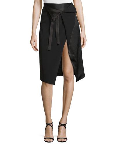 Draped Faux-Wrap Skirt w/ Cutaway Hem, Black