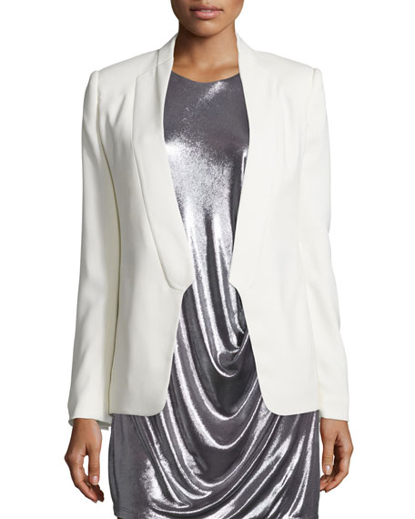 77f0d7b61e2c Halston Heritage Long Slim Tuxedo Jacket w/ Satin Lapel, Chalk