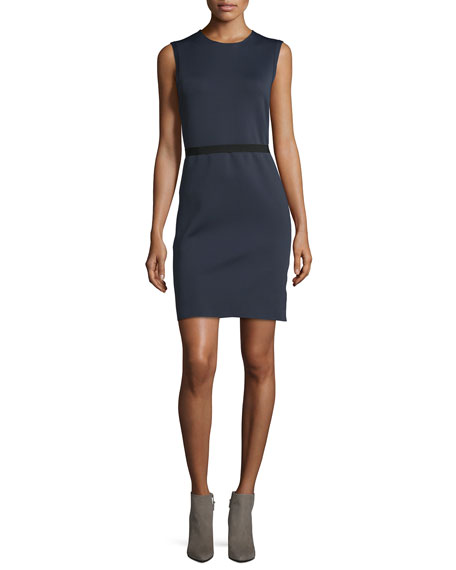 Sleeveless Scuba Sheath Dress, Navy