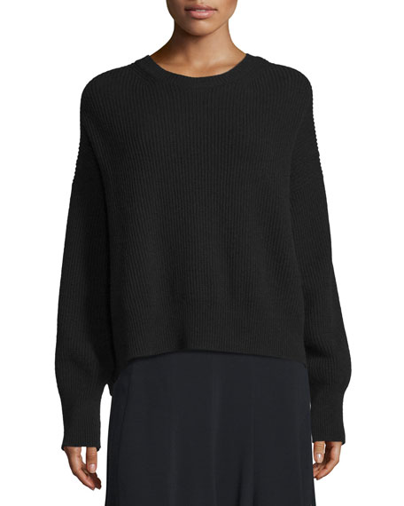 Ribbed Open-Back Sweater, Black