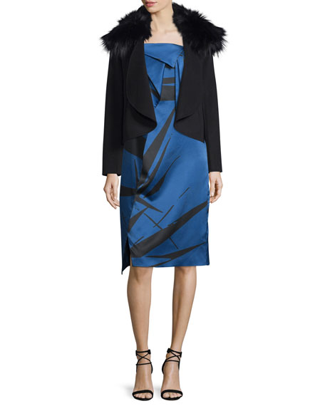 Strapless Graphic Charmeuse Dress w/ Fold Details, Ultramarine Abstract