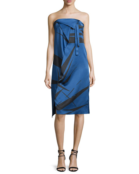 Strapless Graphic Charmeuse Dress w/ Fold Details, Ultramarine