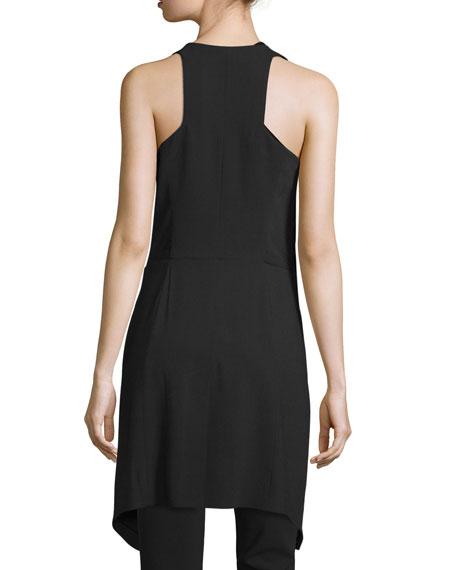 Draped Deep V-Neck Tie-Front Vest, Black