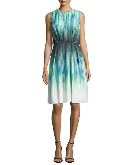 Sleeveless Striped-Ombre Cocktail Dress, Peridot