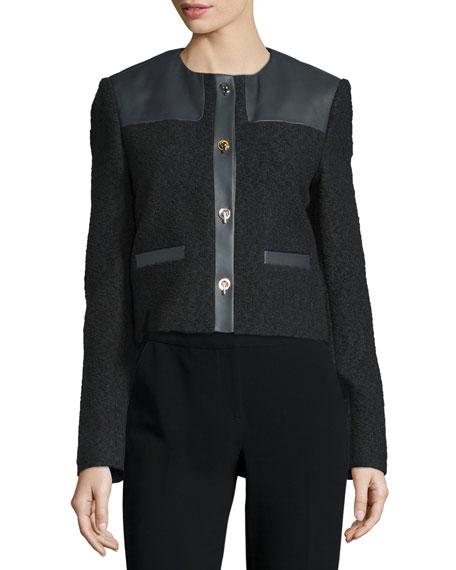 Button-Front Combo Boucle Jacket, Black