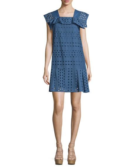 Short-Sleeve Cotton Eyelet Dress, Blue