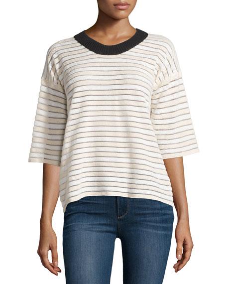 Half-Sleeve Two-Tone Striped Sweater, Blush/White