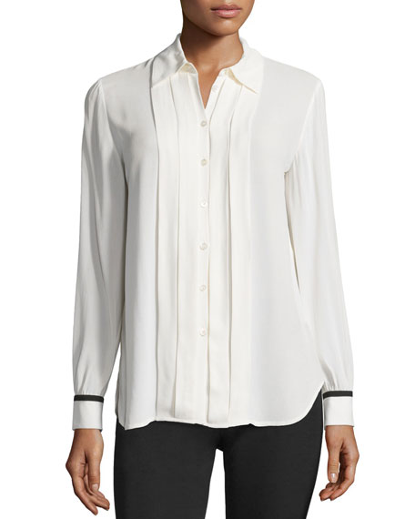 Button-Front Pleated Blouse, Ivory