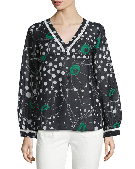 V-Neck Floral-&-Dot Print Top, Black/White