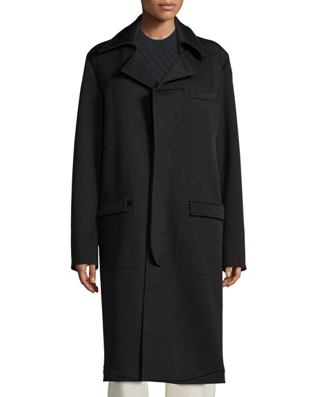 Long-Sleeve Cocoon Coat, Black