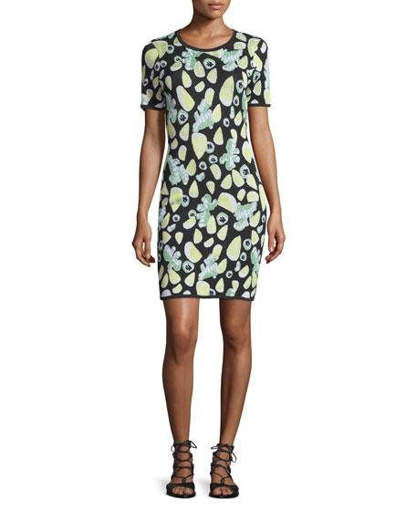 Short-Sleeve Fruit-Print Sheath Dress, Black/Multi