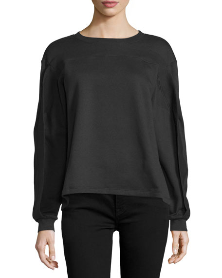 Twisted-Seam Long-Sleeve Pullover, Black