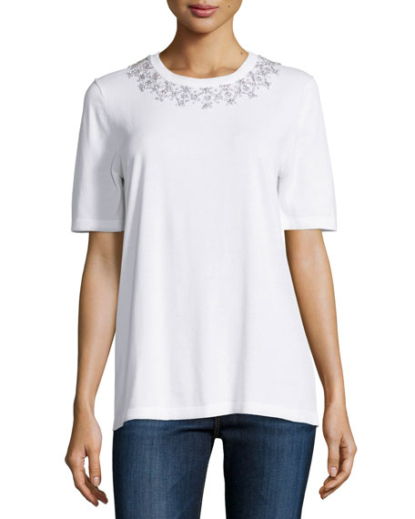 Michael Kors Collection Embellished-Collar Short-Sleeve Tee, White