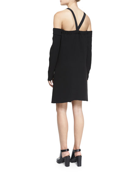 Crepe Cold-Shoulder Shift Dress, Black