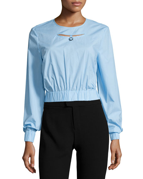 Eva Long-Sleeve Elastic-Trim Top, Mist Blue