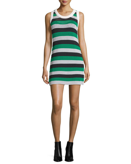 Sleeveless Striped Knit Dress, Green/Multi