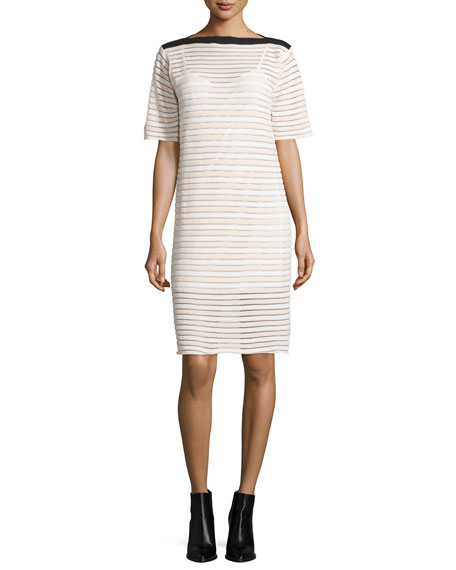 Half-Sleeve Striped Shift Dress, Pink