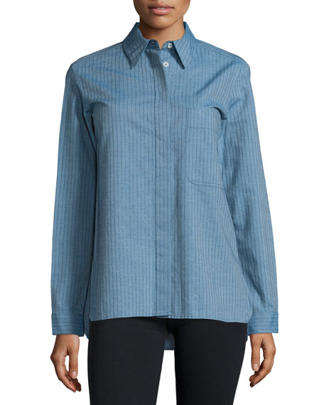 Long-Sleeve Button-Front Shirt, Denim