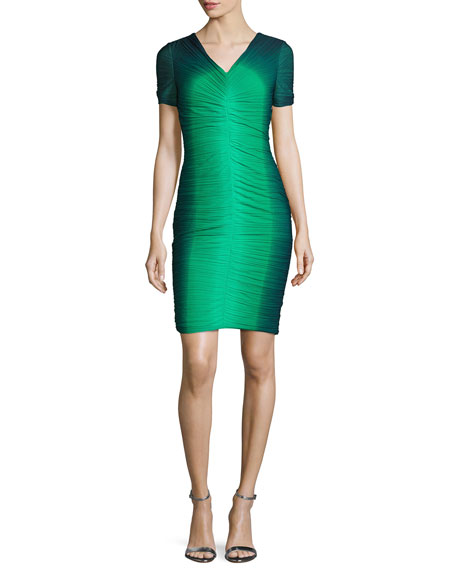 Ombre Ruched Cocktail Dress, Grass/Navy Ombre