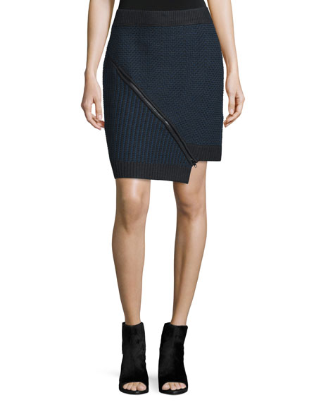 Mixed-Stitch Zip-Front Skirt, Black/Multi