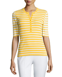 Short-Sleeve Mixed-Stripe Henley Top, Daffodil