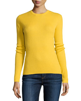 Cashmere Long-Sleeve Sweater, Daffodil
