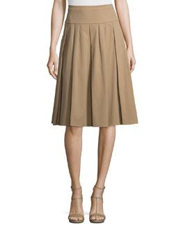 Drop-Waist Pleated Skirt, Fawn