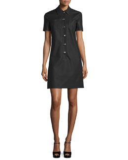 Short-Sleeve Polo Shirtdress, Black