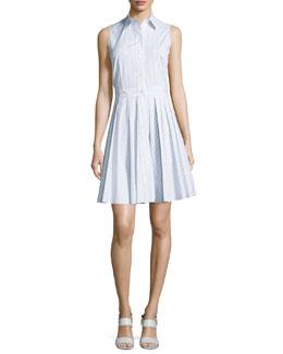 Sleeveless Button-Front Striped Shirtdress, Cornflower