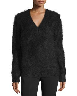 Long-Sleeve V-Neck Sweater, Black