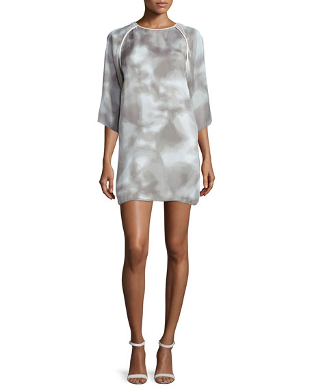 Kimono-Sleeve Printed Shift Dress, White/Mist