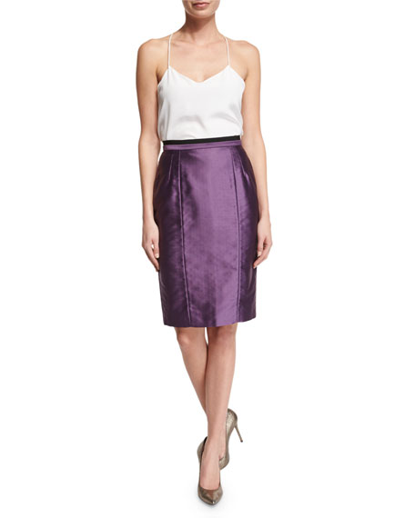 High-Waist Pencil Skirt, Purple