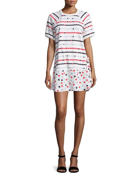 Short-Sleeve Heart-Print Shirtdress, White/Multi
