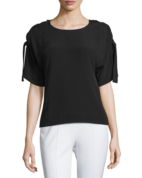 Short-Sleeve Round-Neck Top, Black
