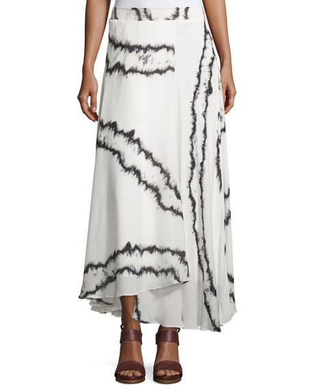 Printed A-Line Skirt, Swan/Black
