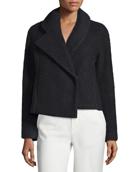 Morgane Asymmetric-Collar Jacket, Black