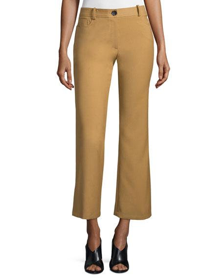 Loren Flare-Leg Cropped Pants, Camel