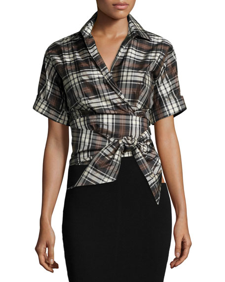 Short-Sleeve Plaid Wrap Top, Black/Nutmeg