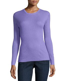 Long-Sleeve Jewel-Neck Cashmere Sweater, Wisteria