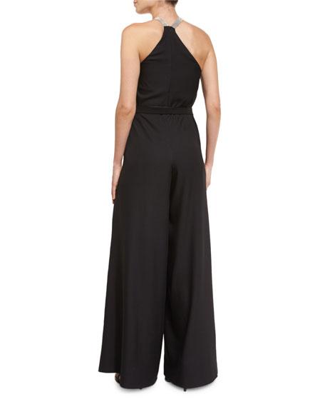 Sleeveless V-Neck Flowy Jumpsuit, Black