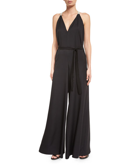 Sleeveless V-Neck Flowy Jumpsuit, Black