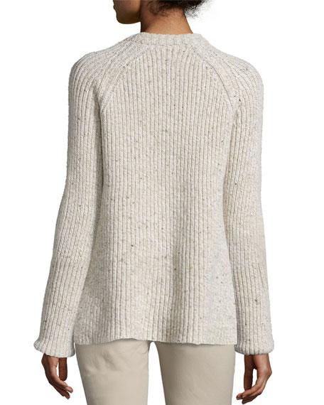 Ribbed Melange Wool-Blend Sweater, Ecru