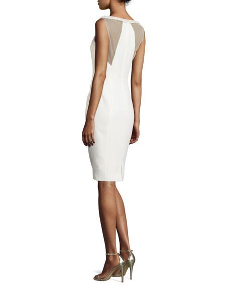 Sleeveless Sheath Dress W/Fringe Trim, Ivory