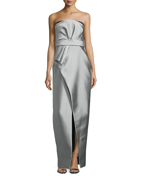 Strapless Pleated Bustier Gown, Gris