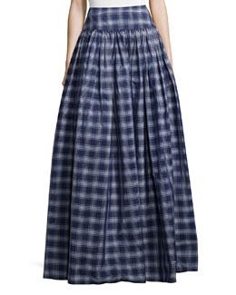 High-Waist Check Full Skirt, Indigo/White
