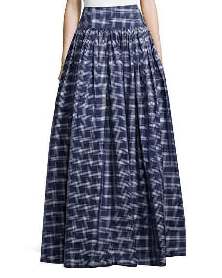 High-Waist Check Full Skirt, Indigo/White