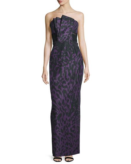 Strapless Feline-Print Column Gown, Violet/Noir
