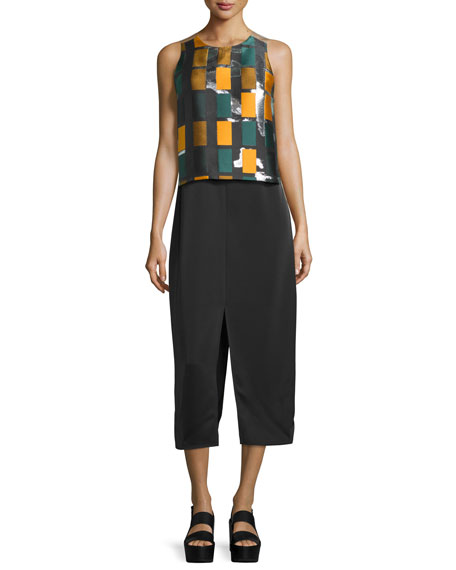 Sleeveless Popover Midi Dress, Black/Multi