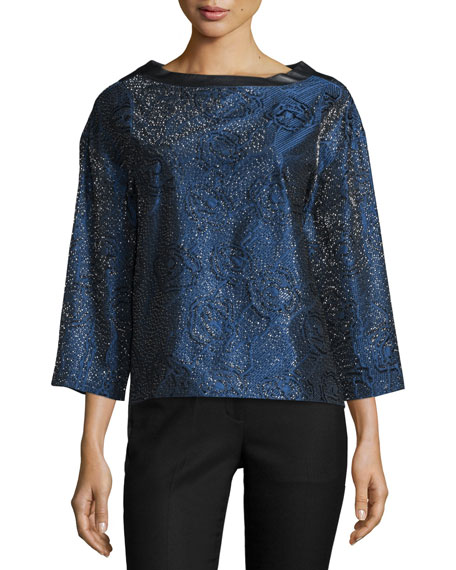 3/4-Sleeve Metallic Top W/Leather Back, Imperial Blue