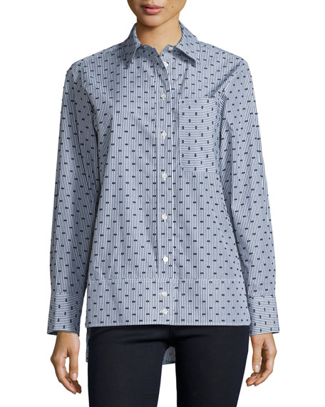 Button-Front Dot-Print Shirt, Gray/Multi